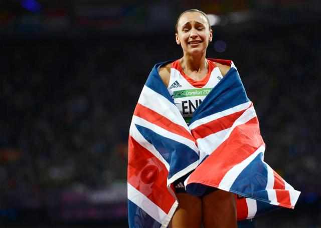 File photo of Britain's Jessica Ennis reacting after she won her women's heptathlon 800m heat at the London 2012 Olympic Games
